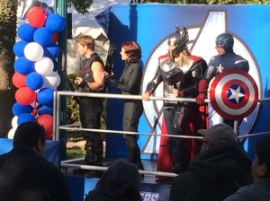 There were a few super heroes to welcome runners to the finish line.