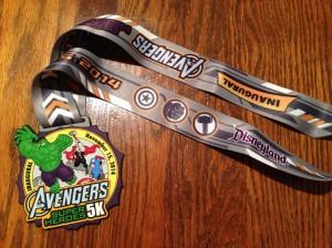 The finisher's medallion for the Avengers Super Hero 5k.