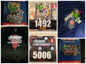 My bibs, the race shirts, and the commemorative pins for the 2014 Avengers race weekend.