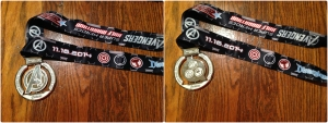 The finisher's medal for the Avengers half is a spinner medal. There were lots of spinner runDisney medals this year!