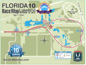 The course map for the Florida 10 Lakeland race. It's a two loop course.