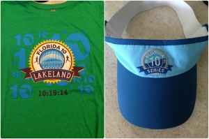 The shirt and visor for the Florida 10 Lakeland race. The shirt is so soft and the visor is really comfortable to wear.
