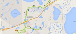 The course map for the Lake Nona half marathon.