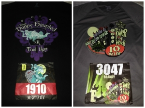 Race bibs and race t-shirts for the races of Tower of Terror weekend.