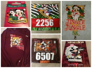 The race shirts, my bibs, and the commemorative pins for Wine and Dine and the Jingle Jungle 5k.