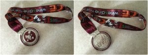 The official finisher's medal for the Wine and Dine half is a spinner medal.