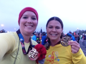 Finished the 10k with Kim! Two happy runners!!