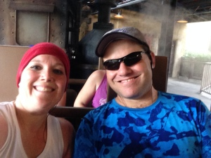 Ready to ride Expedition Everest. Aren't we supposed to be running a marathon?!