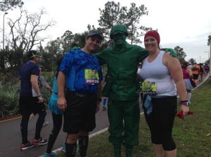 The green army man is our one character stop on the marathon course.