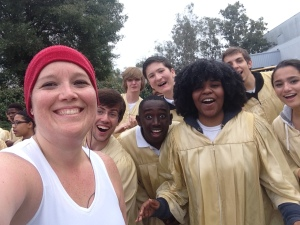I can't resist getting my picture with the Gospel Choir singing at mile 26. They are glorious!
