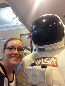 A NASA space suit at the Expo. Astronaut selfie.