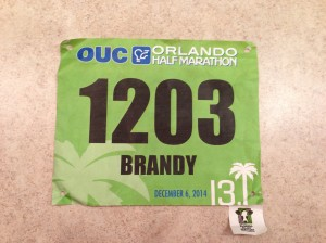 My bib for the OUC Half Marathon