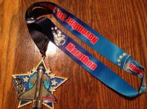 The Space Coast marathon finisher's medal.