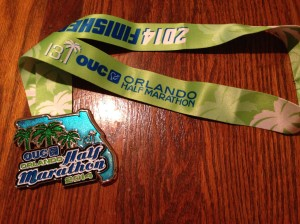 The finisher's medal for the OUC half marathon.