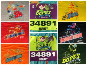 My bibs and all of the official race shirts for marathon weekend.
