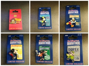 All of the commemorative pins for the races this weekend.