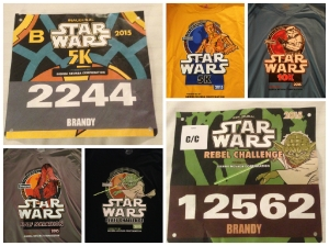 Race bibs for the Star Wars 5k and the Rebel Challenge and all of the official race shirts.