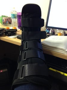 Stress fracture - 1 Brandy in the walking boot - 0 Do not pass Go. Do not collect $200.