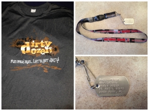 "The official race t-shirt and finisher's ""medal""; a dog tag."
