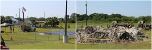 The first two obstacles; tires and then dirt mounds into ditches of water.
