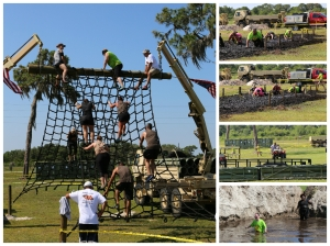 The rope ladder, another slat wall, the belly crawl through the mud, and the final trench.