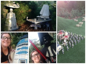 Some shots of some of the Star Wars exhibits and me with Darth Vader and R2D2.