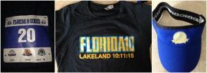 My bib and the Florida 10 race shirt and visor.