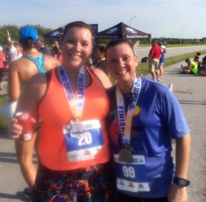 Susan and I after we finished. The leg of the lady behind me is positioned just right so my arm looks weird.